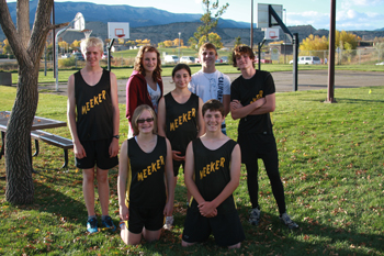 Members of Meeker's cross country team, standing from left, William Scoggins, Savannah Johnson, Erica Roybal, Ean Barrow and Lathrop Hughes. Kneeling from left, Perye Walter and Alex Smith.