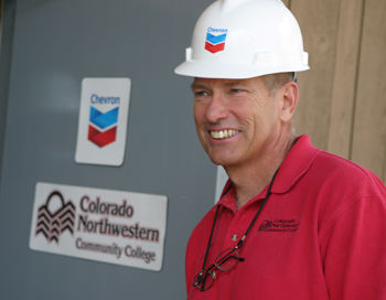 John Boyd, president of Colorado Northwestern Community College, was all smiles as he prepared for a ribbon-cutting ceremony Nov. 12 to celebrate the college's partnership with Chevron Energy Solutions.