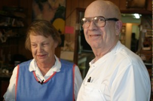 Dave and Enid Steffen answered questions from a reporter for Channel 9 News on Tuesday. The Steffens, owners of The Bakery in Meeker, were honored with a 9Who Care Award for their community service.