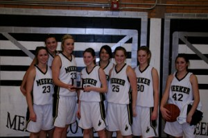 The Meeker girls' basketball team finished second in the annual White River Electric Association Cowboy Shootout last weekend. Timbre Shriver, Becky de Vergie, Stacey Fitzgibbons, Elissa McLaughlin, Laura Glass, Sage Chapin, Randia Rule and Kaysyn Chintala smiled after a hard-played tournament. Fitzgibbons was named to the all-tournament team.
