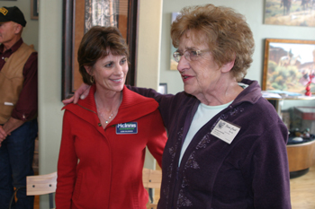 Lori McInnis, wife of Republican gubernatorial candidate Scott McInnis, returned to her hometown of Meeker for a political meet and greet Sunday at Fawn Creek Gallery. She was introduced by Dee Weiss, owner of the gallery.