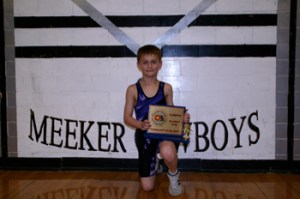Meeker Elementary School's Wyatt Pfau won a state wrestling title last weekend in Denver, winning the 70-pound, 8-and-under bracket. BMS sixth-grader Devon Pontine finished fourth and TJ Shelton was one match from placing. Shelton's younger brother Jake and Chase Rule also qualified for and competed in the state meet, but did not place.
