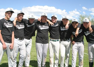 Members of Rangely Senior High's baseball team who were named all-conference were, from left: Kody Denny, Kacey Denny, Adam Dahl, Kindal Cushman, Travis Witherell, Dillon McTague, Chas Byerly and Bryson Palacios. They are playing on the Rio Blanco Legion baseball team this summer.