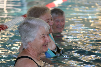 """JEFF BURKHEAD Senior adults exercised in the pool Oct. 1 at Meeker Recreation Center. """"I've seen great benefits the water has done for people,"""" said aquatic fitness instructor Layne Pearce."""