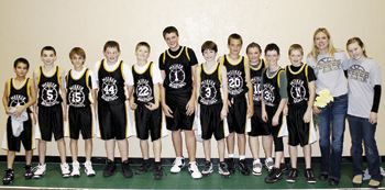 The Barone Middle School boys' basketball team capped off an undefeated season after winning the season-ending league tournament last Saturday in Rangely. From left: Cole Purcell, Tommy Chitwood, Sam Lange, Brock Smither, Jake Smith, Noah Overton, Sam Nieslanik, Ty Dunham, Kash Atwood, Nick Burri, Brady Bland, Coach Debbie Henderson, Braden Henderson.