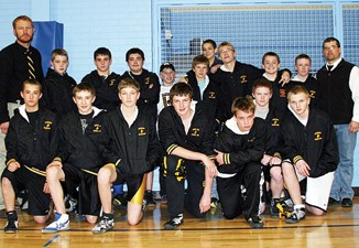 The Barone Middle School wrestling team opened the season last Saturday in Craig, winning the team title after winning five duals. Front row: Austin Purcell, Jake Nielsen, Matt Frantz, Noah Overton, Devon Pontine, Jake Phelan and Tyler Pollock. Back row: Head coach Lee Overton, Jacob Henderson, T.J. Shelton, Ruben Roybal, Casey Turner, Robby Jensen, Cody Purcell, Anthony Watt, Trent Gable (substitute from Hayden), Anthony Watt, Tristin Pelloni and assistant coach J.C. Watt.