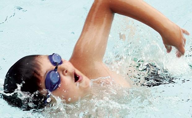 Joseph McKay swimming the 25 freestyle.