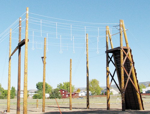 The ropes (or challenge) course has been built on the CNCC Rangely campus and the next step will be to train facilitators before the course will be used. CNCC plans to train 20 facilitators from both the college and the local community. Photo by Denise Wade