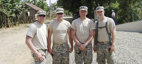 Rangely High School graduates Brian, Greg and Mark Skelton and their friend and classmate Zach Green are all members of a National Guard unit based in Vernal, Utah. The four, pictured here in Central America during annual training last summer, will be deployed to Afghanistan this summer for a nine to 13 month tour.