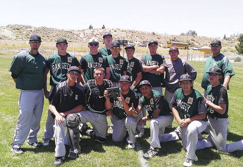 Rangely baseball coach Paul Fortunato stands next to James Rogers, Bubba Ivers (Craig), Cameron Enterline (back), Lucas Heinle, Kelton Elam, Gentry Hatch (Roosevelt, Utah) and coach Gary Denny.  Playing on the third place team in Green River last weekend were (front) Kody Denny, Bryson Palacios, Toby Gasper, Chas Byerly, Gabe Garcia and Chad Bolding. The Rangely independent team will play in Craig against Moffat County this Saturday in a doubleheader starting at 11 a.m.