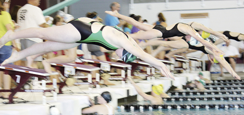 Geli Brown (above) dives off the starting platform in the Western Slope League Championships held last weekend in Grand Junction. Brown swam in seven events and qualified for the Colorado Long Course State Championships to be held this weekend at the Air Force Academy in Colorado Springs, along with Hurricane teammates Patrick Scoggins and Andrew Morton.