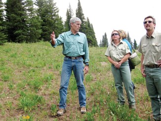 Also while in Rio Blanco County, U.S. Senator Mark Udall and Natasha Goedert, with the White River National Forest looked for the 2012 Capitol Christmas Tree on Ripple Creek Pass.
