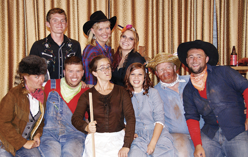 The cast of Sagebrush Sidekicks dinner theatre included (back) Lathrop Hughes, Kalene Weinholdt and Elizabeth Landis. (Front) Meredith Deming, Caleb Dodds, Shana Holiday, Stephy Joos, Gary Zellers and Collin Cochran.
