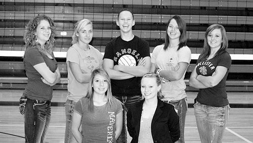 The Rangely High School volleyball team will be led by eight seniors this season including (back) Kellsie Nash, Kelsey Prosser, Quincey Thacker, Brittany Babineaux and Shelby Neiberger. (Front) Leslie Hernandez and Heather Turner. Myriah Moreno is not pictured. The Panthers will travel to Montrose for a scrimmage this Saturday and open the season in Glenwood Springs next week.