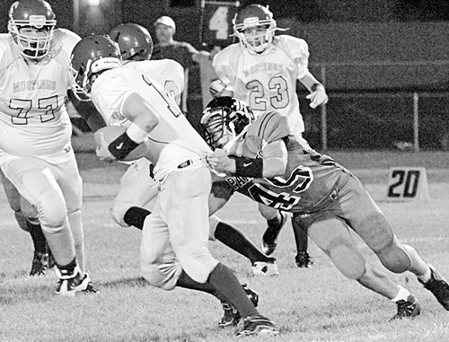 Panther coach Paul Fortunato credits his team's recent success, scoring more than 60 points in each of the last to games, to his offensive and defensive linemen, which includes sophomore Ethan Allred pictured getting a sack.
