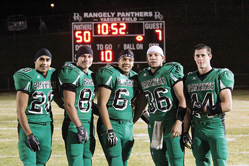It was senior night last Friday on Yaeger Field and Rangely seniors Chas Byerly, Bryson Palacios, Gabe Garcia, Tobie Gasper and Colton Coombs all contributed to the final score. The Panther seniors earned a state playoff berth, the first in their high school careers, for their efforts this season and will play in Kiowa this Saturday.