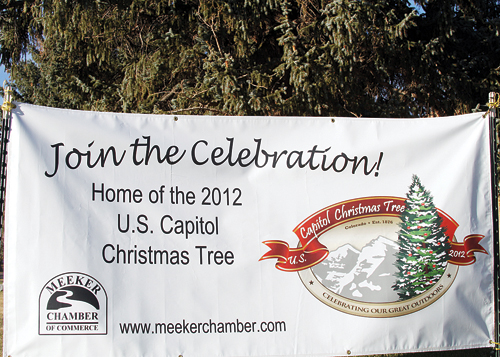 A banner placed on the courthouse lawn invites everyone to join the celebration of Colorado's gift to the nation starting Nov. 2.