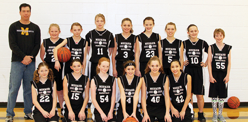 The Barone Middle School girls' basketball teams will host Craig this Saturday starting at 9 a.m. Playing for the seventh-grade team are (front) Kascia Cochran, Carissa Smith, Abbey Morgan, Taylor Dodds, Riley Pertile and Alicia Aviles. (Back) Coach Tom Knowles, Lauren Urista, Brittney Adams, Jamine Patterson, Elissa Quinteros, Maddie Kummer, Avery Watt, Sierra Williams and Macy Collins.