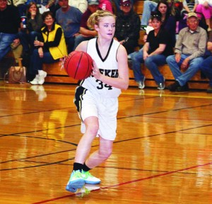 Meeker sophomore Megan Parker earned some varsity minutes against Hayden and assisted on several baskets with effective bounce passes.