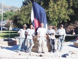 Volunteers, from left, Fernando Quintero and Thony Juarez of Luke Renniger Log Homes, James Morrell, Troy Claussen, and Jorje Salas, who is also with Luke Renninger Log Homes, put the finished wiring and walls up Monday in time for the unveiling of the Rio Blanco County Veterans Memorial on the front lawn of the Rio Blanco County Courthouse in downtown Meeker. The statue will be unveiled and dedicated following the Fourth of July Parade on Thursday. The VFW chapters in Meeker and Rangely raised $120,000 in cash or in-kind work to complete the statue, which honors all veterans of all wars and peacetime from Rio Blanco County. Former Marine Sgt. Tom Kilduff, past commander of the Meeker VFW, said Rio Blanco County has one soldier still missing in action from Vietnam, U.S. Air Force Capt. Mark Giles Danielson, who had his AC-130A shot down June 18, 1972.