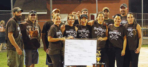 Ace Trucking entered the 2013 Coed League tournament undefeated and the No. 1 seed but lost in the semifinals forcing them to come back and defeat the defending champs, Rangely True Value Hardware, twice in a row to win the title. Pictured with the championship bracket and trophy are Obie Deming, Shiloh May, Meredith Deming, Ron Kelly Crawford, Stephanie Overton, Ivy Coryell, Clark Edwards, Jodi May, Donald Blazon, Courtney Blazon, Toby Garcia and Winter Gianinetti.