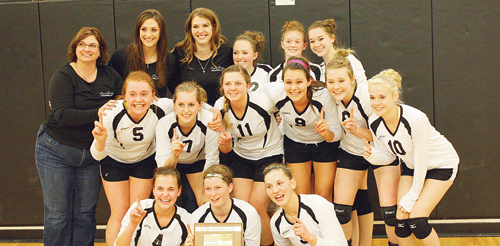 The Meeker High School volleyball team entered the Region G tournament as the No. 2 seed and left as regional champions after defeating Telluride and host Ridgeway on Saturday. The championship advanced the Lady Cowboys to the Colorado State Volleyball Championships in Denver, and Meeker will be in the same pool as Ridgeway and Resurrection Christian, playing Ridgeway first on Friday at 8 a.m. Playing for the regional champs are, in front, Piper Haney, Aly Ridings and Taylor Neilson. Middle, Sydney Hughes, Jamie McLaughlin, Brittany Smith, Paige Jones, Reagan Pearce and Meagan Parker. Back row, coaches Christy Atwood, Janae Stanworth and Keely Winger, Lori Ann Klinglesmith, Maggie Phelan and Jenna Walsh.