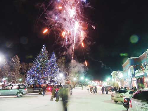 A fireworks display was launched from the old Meeker Elementary School property in downtown Meeker to mark the end of the town Christmas tree lighting contest and the second annual Parade of Lights on Friday evening. The events were sponsored by the Meeker Chamber of Commerce, Pioneers Healthcare Foundation, Meeker Volunteer Fire and Rescue, Meeker High School and the Meeker Girls' Choir.