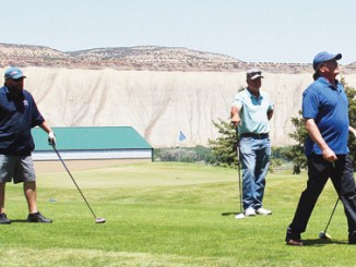 Larin Crase, Pat Walsh and Ted Relihan, along with Danielle Feora (not pictured), drove from Meeker to Rangely for a round of golf at the Cedar Ridges Golf Course on Monday. Cedar Ridges Golf course will host the annual Elks Scramble on Saturday. The group from Meeker was spotted entering the clubhouse in Rangely and the Rio Blanco County Cup, which will be played for later this month in Meeker, was not reported missing.
