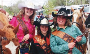 Range Call Rodeo 2014 Queen Cheyenne Steele, First Princess Emily Amick, Second Princess Jazzmyn Wakefield.