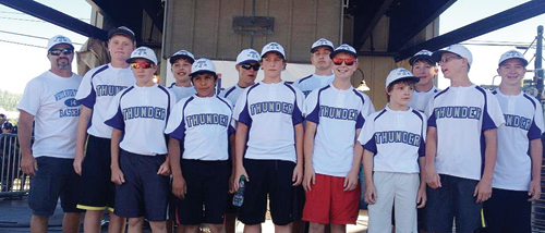 The Meeker Thunder (14 and under) baseball team was invited to play in the Triple Crown World Series by Triple Crown Sports founder and former MHS graduate Dave King, who coached first base for the team in the first game. Pictured (top) are: coach Brian Merrifield, Logan Hughes, Garrett Frantz, Uri Goedert, Luis Villapando, Eli Hanks, Doak Mantle, Eli Newman, Cooper Meszaros, Jacob Pelloni, Avery Newitt, Noah Eichman and Trapper Merrifield.
