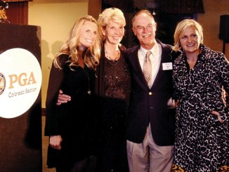 Jim Cook of Meeker, the long-time pro at Meeker Golf Course, was joined by his family Nov. 7 in Parker to be honored as a Noble Chalfant Inductee by the PGA of Colorado. From left to right are: oldest daughter Jennifer, Jim's wife Debbie, Jim Cook and youngest daughter Wendy.