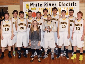 The Meeker Cowboys defended their White River Electric Cowboy Shootout team title when they defeated the Mancos Blue Jays in the championship game Saturday on their home court. The championship team included Jake Phelan (15), Matt Frantz, Cade Rowlett, Jake Smith, assistant manager Madison Kindler, Kash Atwood, Ty Dunham, Raul Lopez, Joe Newman, Tony Collins, Levi Dinwiddie and Logan Hughes. Dunham and Lopez were named to the all-tournament team and Lopez was named the tournament's MVP.