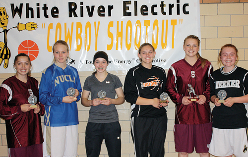 This year's White River Electric Cowboy Shootout all-tournament team consists of: Dakota Bruner from Soroco, Katelyn Brown from Rangely, Kara Cozzens from Hayden, Erin Staats from Nucla, Jessica Rossi from Soroco was named the tournament's MVP and Sydney Hughes from Meeker. Hughes won the three-point contest, held before the championship game, where Meeker defeated Soroco 52-37.