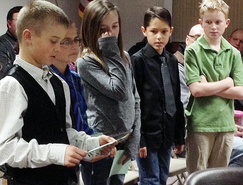 The fifth grade student council officers at Meeker Elementary School presented a report to the Meeker School Board on Jan. 20. The students, from left to right, are Kelton Tanner, Shane Kobald, Hadley Franklin, Tasos Halandras and John Hampton Hightower.