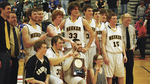 The Meeker High School boys' basketball team won both of its games over the weekend at the regional tournament in Grand Junction, and the Cowboy cagers emerged as regional champions and will play in the state tournament this weekend in Denver. Meeker was selected as the No. 5 seed by the state tournament seeding committee and will open their tournament play at 10:15 a.m. today against Simla. The Cowboys go into today's contest with a season record of 22-1.