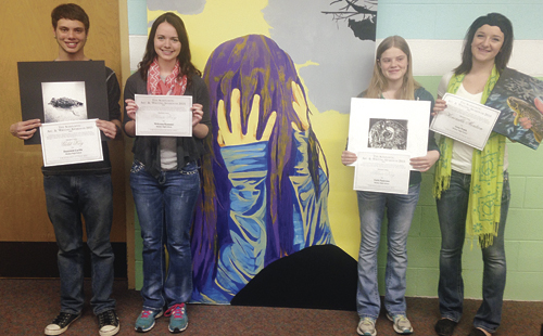 Four Meeker High School students traveled with instructor Ben Quinn to Denver recently, where they were honored for being state art competition winners. From left to right are: Dom Cardile, McKenna Kummer, Faith Patterson and Anna Walsh.