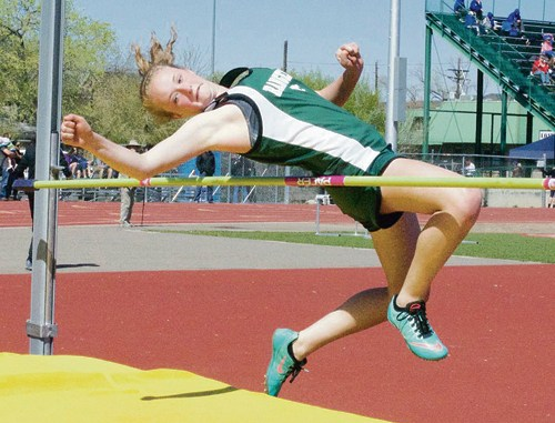 Rangely's Antoinette Dorris competes in the high jump.