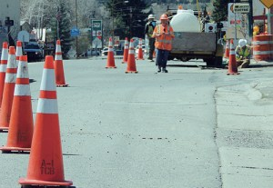 Construction has begun on westbound Market Street sidewalks in Meeker which will result in intermittent shoulder closures. Above, a crew begins work on the crosswalk at Fifth and Market streets, a part of the project, which will run 7 a.m. to 7 p.m. Mondays through Fridays. Drivers are reminded to slow down when driving through the cone zone.