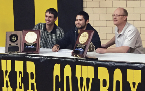 Raul Lopez, a senior at Meeker High School, has signed a letter of intent to play basketball for the Colorado Northwestern Community College Spartans next year after turning in an outstanding year playing for the MHS Cowboys. The MHS point guard led the Cowboys with most points scored and most assists, and he was named player of the year in the NW League. Lopez will also play in all-state games in June. From left to right are MHS assistant coach Matt Dupire, Lopez and head basketball coach Klark Kindler.