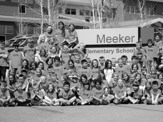 Pictured are 85 Meeker Elementary School students who have participated in the 100-mile club and have run at least 25 miles this year. Some students have documented 50, 75 and even 100 miles.