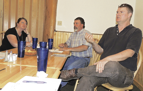 From left, Rio Blanco County Economic Development Coordinator Katelin Cook, Commissioner Shawn Bolton and Blake Mobley, the IT coordinator for the county, gave presentations Friday afternoon at The Mexican House during a Meeker Chamber of Commerce-sponsored business leaders' luncheon, offering updates on county economic development, broadband and other county activities. Roughly 20 people took part in the meeting.