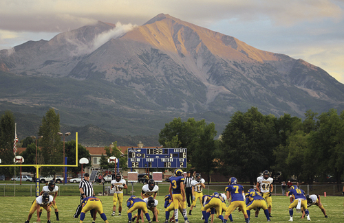 Mount Sopris is a beautiful mountain south of Glenwood Springs and it dwarfs the football players playing in her shadows at Carbondale. The Meeker Cowboys lost their second close game in a row as they fell 16-14 to the Roaring Fork Rams.