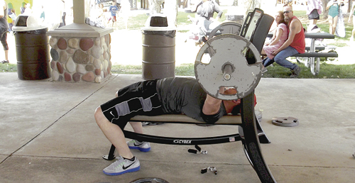 "There were several ""outside"" competitions held during Rangely's Septemberfest, which ran from Friday through Monday and, above, Darrell Thacker of Rangely tries his talents in the bench press contest."