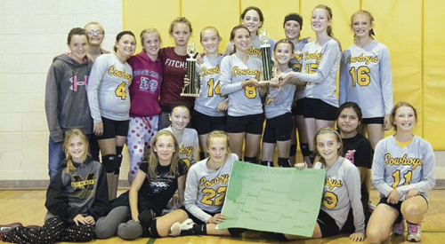 The Barone Middle School A-team won the district volleyball championship in Rangely. Members of the team are: (bottom row, left to right) manager Grace Gibson, Matilda Brown and Kolbi Franklin; (middle row, left to right) Abby Moon, Mackenna Burke, Kristen Brown and Domnik Chintala; (top row, left to right) coach Roxy Chintala, Karlee Neilson, Julia Dinwiddie, Addie Joy, Caleigh Morlan and Jeni Kitchen.