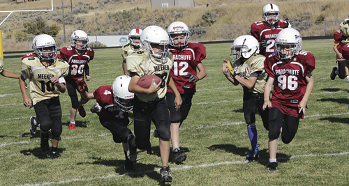 The Meeker Mustang youth football program has three teams, including one complete team and several other players from Rangely this year. All three teams out-ran, out-passed and out-tackled the Piranhas from Grand Valley in all three games they played, including an overtime victory in the third game at Starbuck Stadium in Meeker on Sept. 26.