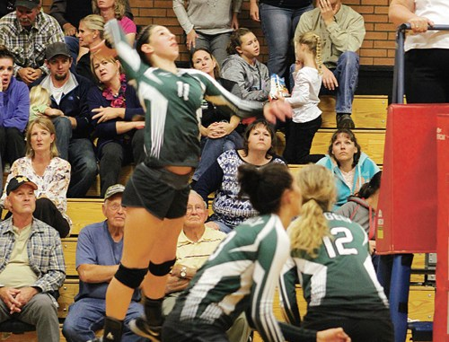 Rangely junior Lindzey Thacker (11) goes up for a spike during a match in Meeker, which the lady Panthers won in four games. Rangely also beat Hotchkiss last week but lost to Paonia. The lady Panthers will play in Oak Creek on Friday and host Caprock Academy on Saturday.