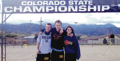 Three members of the Meeker High School cross-country team competed in the 2A boys' and girls' Colorado State Cross Country Meet in Colorado Springs on Saturday. Finishing for the Cowboys in their respective classes were, from left: Marshal Pool, 19th out of 112 runners; Austin Russell, 13th out of 112 runners; and Julia Eskelson, 24th out of 81 runners.