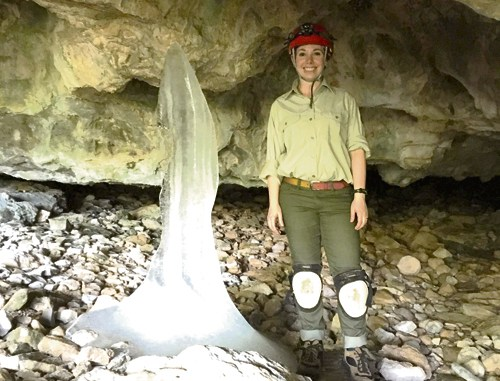 Stephanie Bouchey is one of two summer interns at Spring Cave in eastern Rio Blanco County until mid-August. The interns, from the Geological Society of America, are providing education and outreach to cave visitors, explaining why a bat gate is being installed at the cave and ensuring that visitors are not bringing in clothing and gear from areas known to be infected with White Nose Syndrome, taking a deadly toll on bats in the United States and Canada.