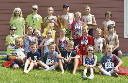 Several area youth participated in the ERBM Recreation & Park District's Road Rash 'n' Splash Kids' Triathlon on Saturday. Back row, left to right, are: Kate Lockwood, Hailey Knowles, Emma Luce, Colby Clatterbaugh, Abel Ketchen, Brendan Clatterbaugh and Brink Casey; middle row from left to right: Addison Knowles, Reese Clatterbaugh, Rayna VonRoenn, Raegan Clatterbaugh, Jacey Follman, Tyler Sanders, Connor Rose and Chakwah Brink; and front row, from the left: Trent Sanders, Jonan VonRoenn, Tucker Chinn, Sam Conrado, Ellie Hossack and Dexter Chinn.