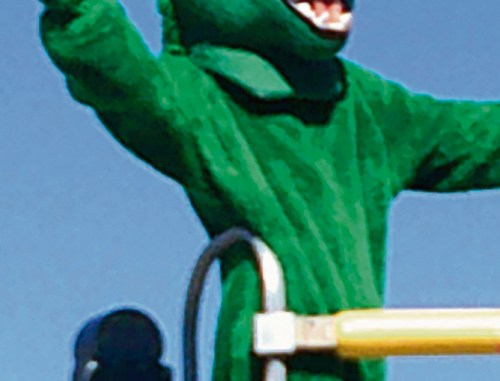 The Rangely Panther mascot was a colorful addition to the homecoming parade lineup.